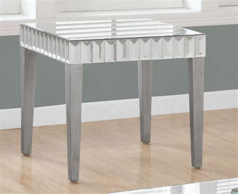 brushed silver table brushed silver end table 3721 monarch