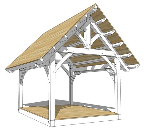 gazebo for cing 12x16 king post truss plan timber frame hq