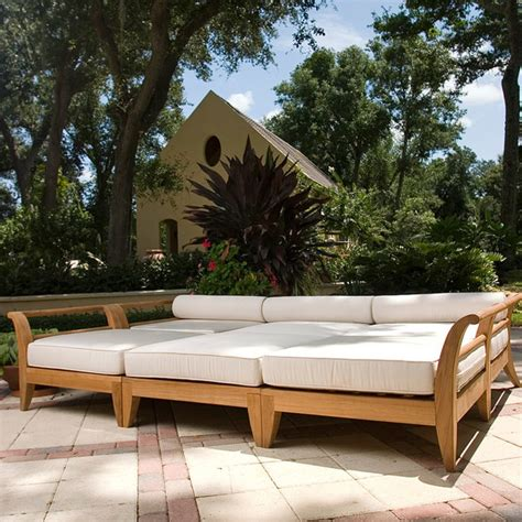 outdoor patio bed aman dais 6 pc teak day bed mediterranean outdoor