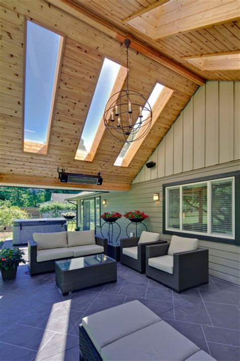 Outdoor Living Area with Skylight   Traditional   Patio   vancouver   by My House Design Build Team