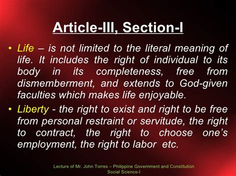 Article 3 Bill Of Rights Section 10 Explanation by Bill Of Rights Lecture