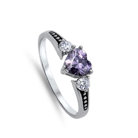 s amethyst cz beautiful ring new 925 sterling