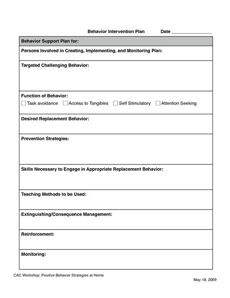 Behavior Intervention Plan Template Great Printable Behavior Modification Plan Template