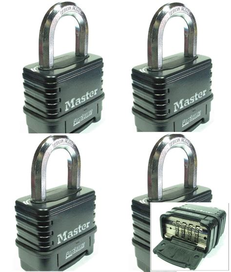 Lock4 Set 18 combination lock set by master 1178d lot 4 resettable weather sealed carbide ebay