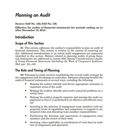 Audit Plan Template sle audit plan 7 documents in word pdf