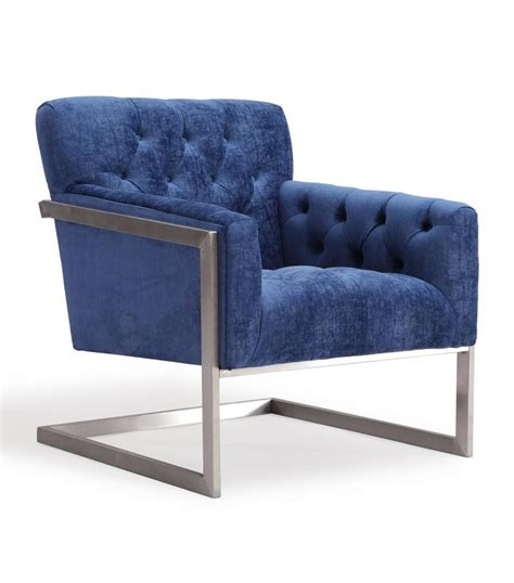 metal accent chair modern blue velvet brushed metal frame accent chair