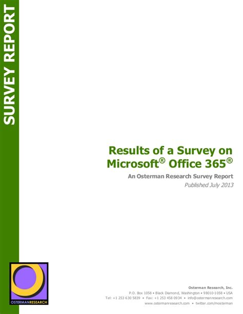 Office 365 Questionnaire Survey Report Results Of A Survey On Microsoft Office 365