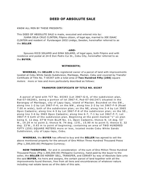 deed of sale template deed of absolute sale