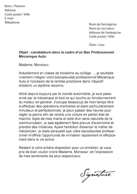 Exemple De Lettre De Motivation Mecanique Lettre De Motivation Bac Pro M 233 Canique Auto Mod 232 Le De Lettre
