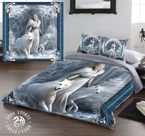 anne stokes bedding anne stokes winter guardians double bed duvet cover linen