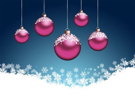 pink christmas tree balls on a blue background on