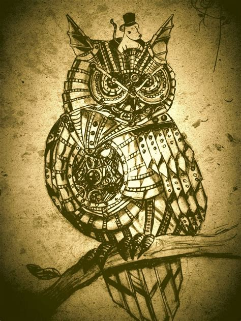 mechanical owl tattoo sepia steunk owl steunk