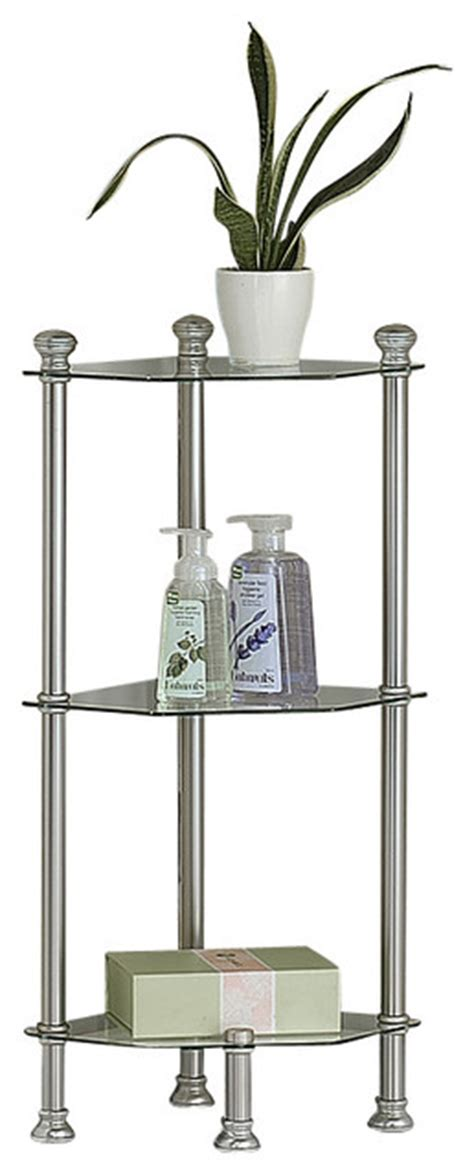 Metal Etagere Bathroom Satin Nickel Metal 33 Quot High Corner Etagere Tempered Glass Contemporary Bathroom Cabinets