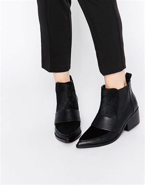 asos asos run away leather mix pointed chelsea ankle