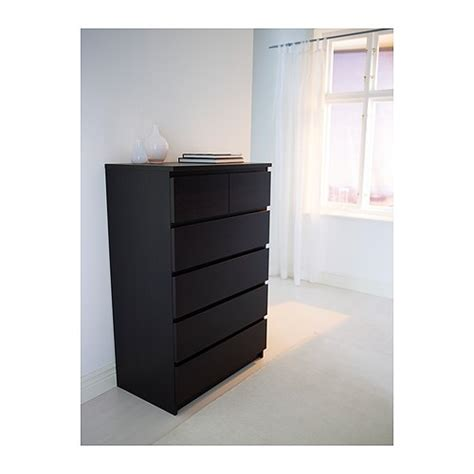 Black Malm Dresser by Malm Chest Of 6 Drawers Black Brown 80x123 Cm