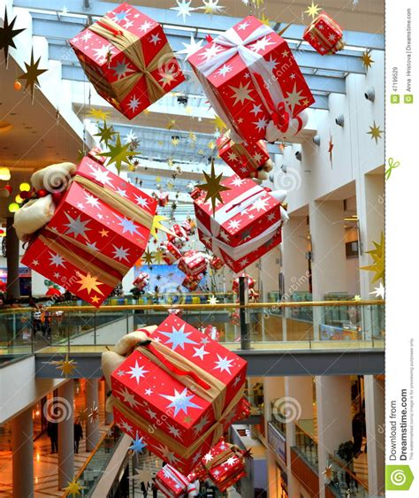 bright hanging christmas presents stock image image