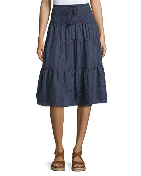 Tiered Midi Skirt lyst calypso st barth payson tiered midi skirt in blue