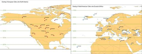 latitude map of us and canada what city in europe or america is on the same