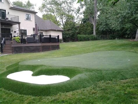 new backyard putting green for a golfing family with