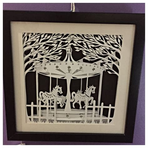 How To Make A Paper Shadow Box - carousel illuminated shadow box paper cut