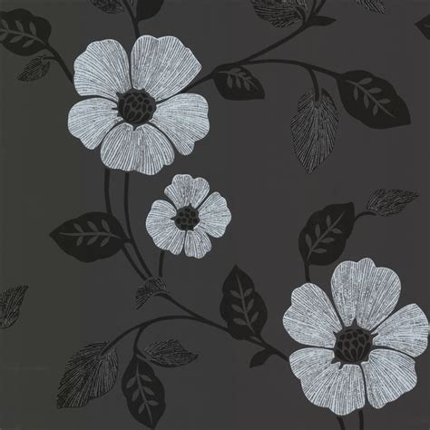 modern floral wallpaper zync black modern floral wallpaper contemporary