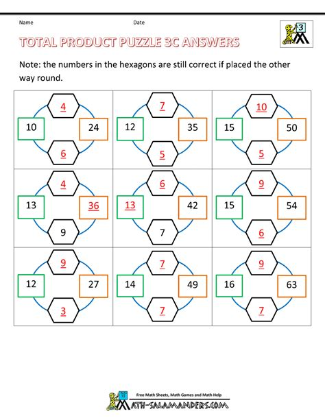 Free Printable Math Puzzles For 3rd Grade