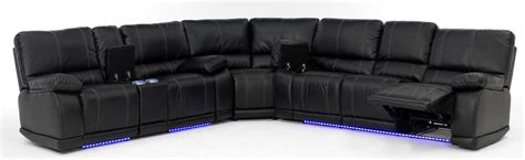 light with electra power reclining sectional with led lights