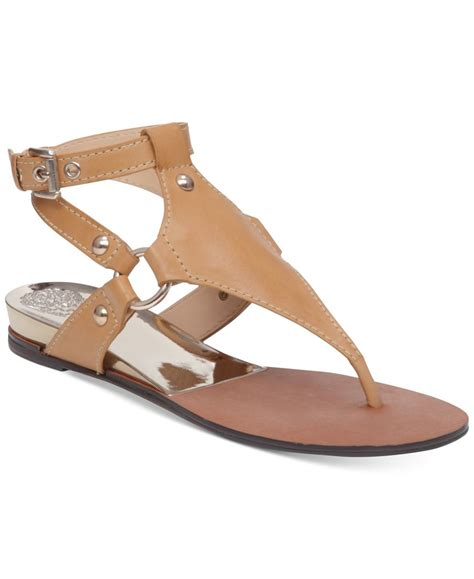 vince sandals vince camuto adalina flat sandals in brown lyst