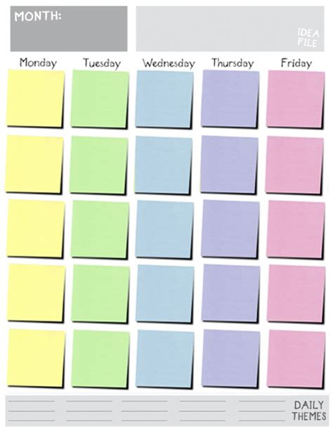 monday through friday calendar template great printable