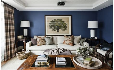 Navy Living Room by A Beautiful House Emily A Clark