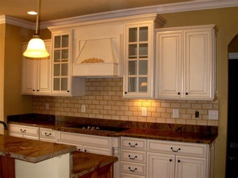 Painting Kitchen Cabinets Distressed White Painted Distressed Kitchen Cabinets Traditional Kitchen By Luxe Homes And Design
