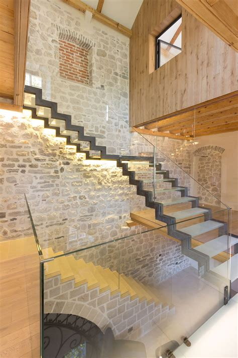 Modern Bathroom Design Pictures by Stone Wall Contemporary Staircase