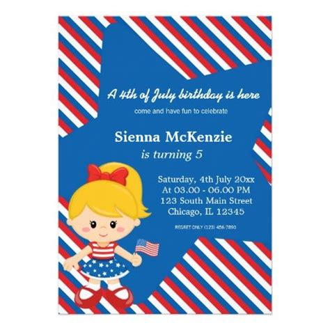 4th Birthday Invitation Cards 4th Of July Birthday Girl Card Girls Invitations And