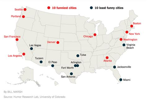 united states map of sanctuary cities the funniest cities in the united states as ranked by the