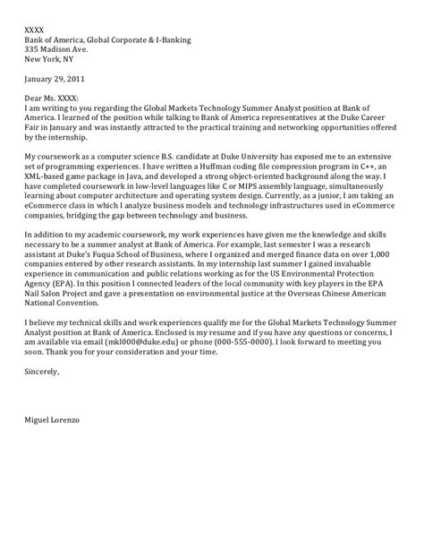 Computer Science Internship Cover Letter by Junior Cover Letter Computer Science
