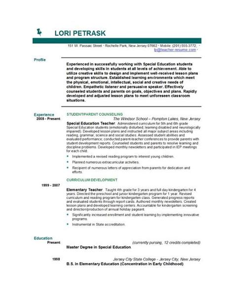 Resume Exles Of Teachers Resume Templates Easyjob