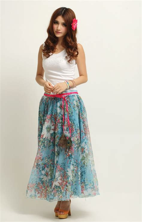 style floral chiffon skirt