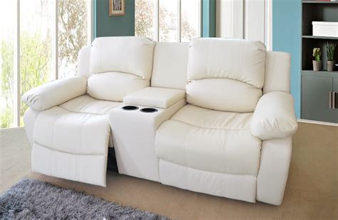 recliner sofa with console valencia 2 seater bonded leather recliner sofa with
