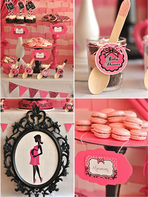 Pink And Black Baby Shower Themes by Pink Black Glam Baby Shower With Printables