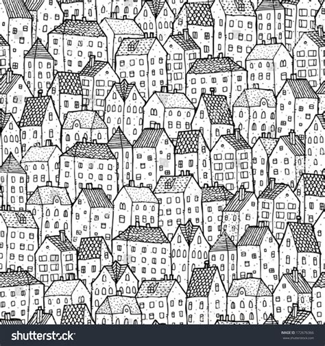 repetitive pattern en francais city seamless pattern black white repetitive stock vector