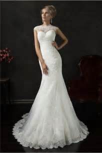 Wedding Dress High Neck Mermaid High Neck Cap Sleeve Illusion Back Lace Wedding Dress With Buttons
