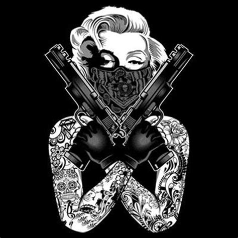 marilyn monroe gangster pose tattoo guns crossed thug