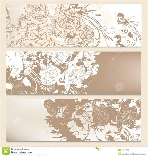 Wedding Floral Brochure by Set Of Wedding Brochures In Classic Style With Roses Stock