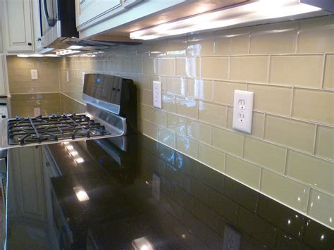 glass subway tile kitchen modern with glass backsplash