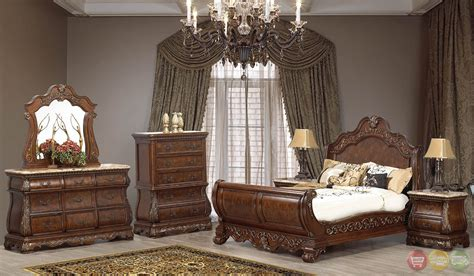 florence bedroom set florence burl wood traditional cherry sleigh bedroom set