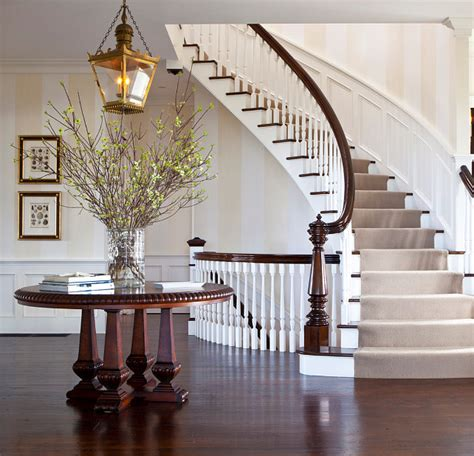 Foyer Staircase by Traditional Nantucket Cottage With Coastal Interiors