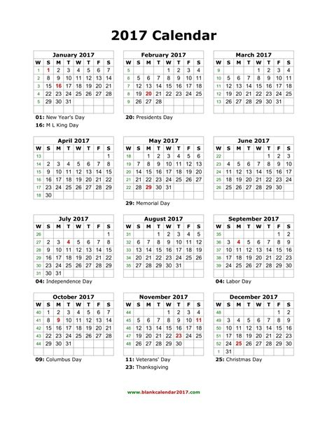 2017 Yearly Calendar Printable With Holidays Blank Calendar 2017