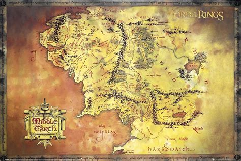 lord of the rings middle earth map lord of the rings map of middle earth poster