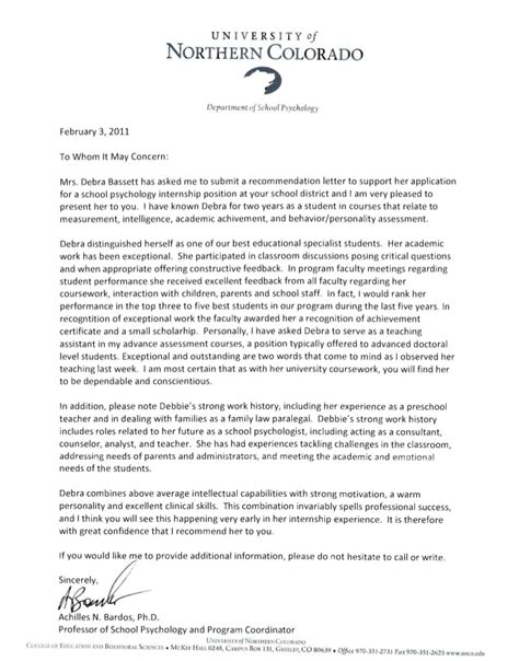 Reference Letter For A Psychology Student Reference Letters