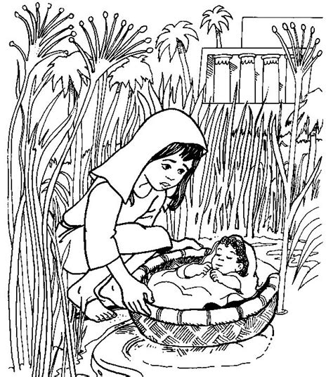 Baby Moses Coloring Pages coloring pages of baby moses basket coloring part 2
